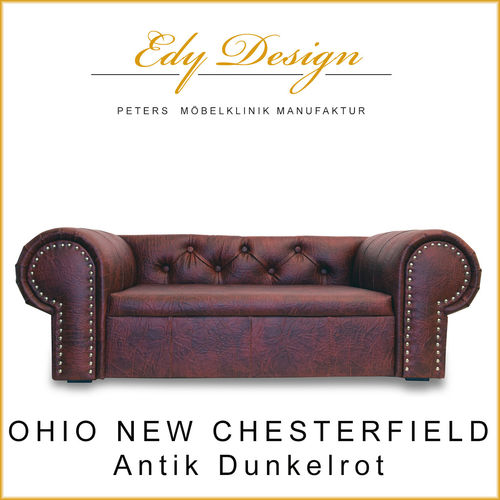 OHIO NEW Chesterfield Antik Dunkelrot XL