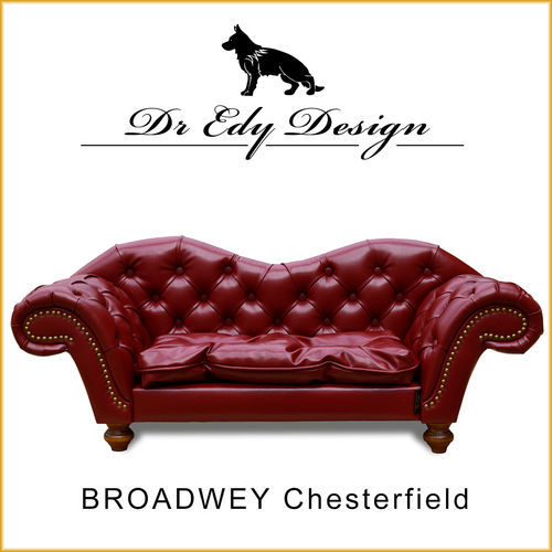Dog Bed BROADWAY Chesterfield Antik Weinrot